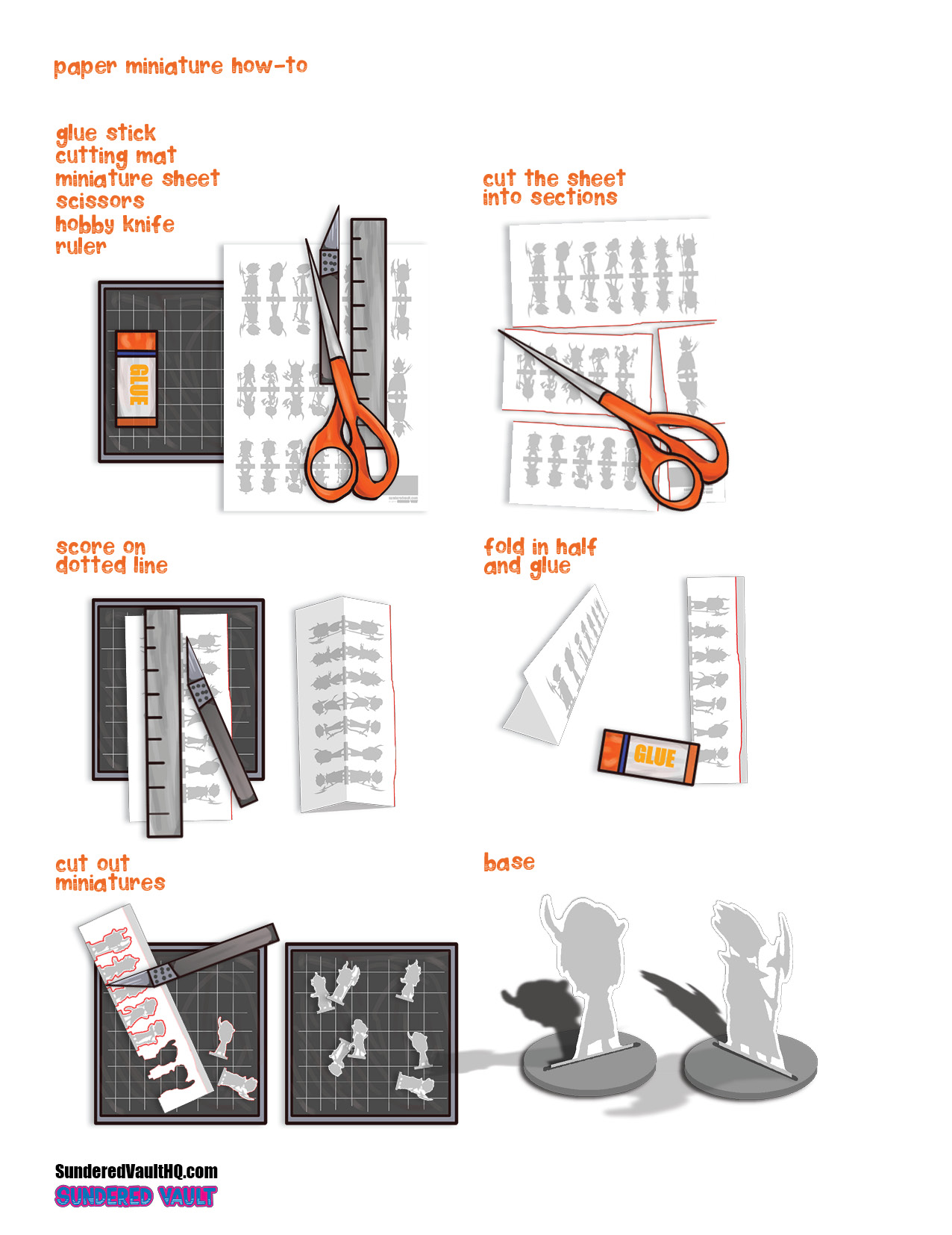 infographic on paper miniature assembly, cut out sections, score on doted line, glue front and back together, cut out individual miniatures, base, enjoy